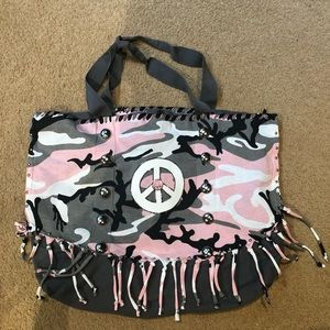 Handbags - Camouflage pink grey tote peace authentic pigment